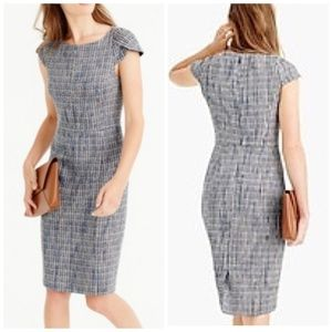 J. Crew Petal-sleeve dress in flecked tweed, sz000